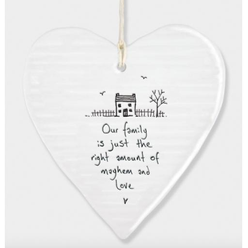East Of India Family Hanging Porcelain Heart