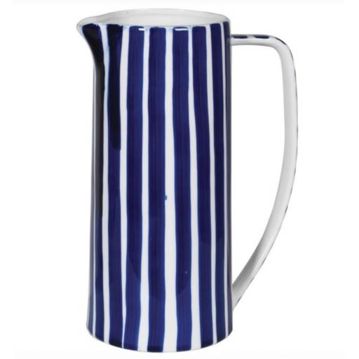 Tall Blue & White Stripe Ceramic Jug
