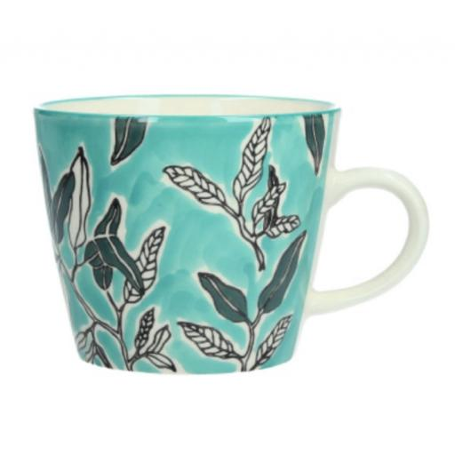 Blue Watercolour Leaves Design Mug by Gisela Graham
