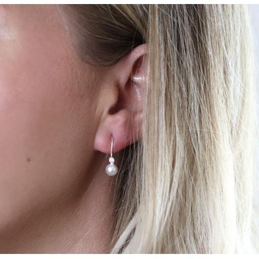Peace Of Mind Sterling Silver Crystal Pearl Drop Earrings