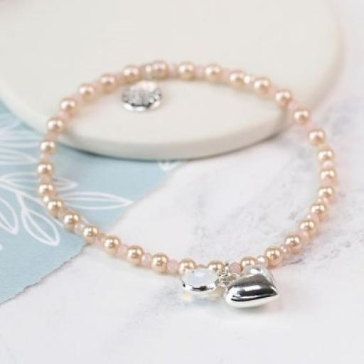 Peace of Mind Silver Plated Heart, Crystal & Champagne Pearl Bracelet