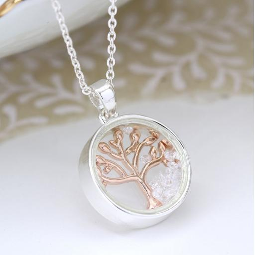 Peace Of Mind. Gold Tree Of Life In Silver Circle Necklace