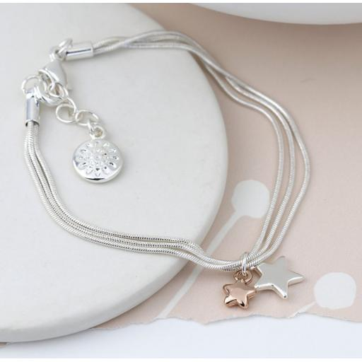 Peace of Mind Silver Plated Triple Chain Bracelet with Rose Gold/Silver Stars