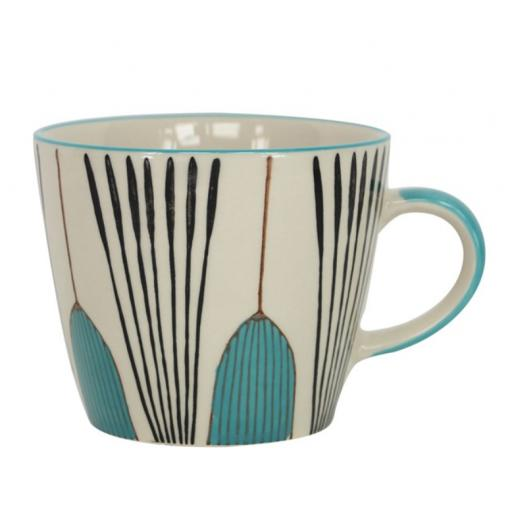 Teal Tulip Design Mug by Gisela Graham