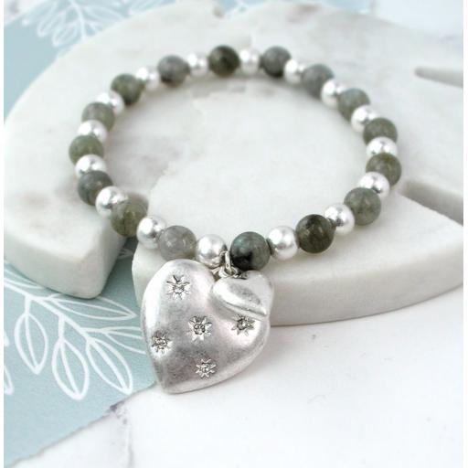 Peace of Mind Silver Plated Studded Heart Beaded Bracelet