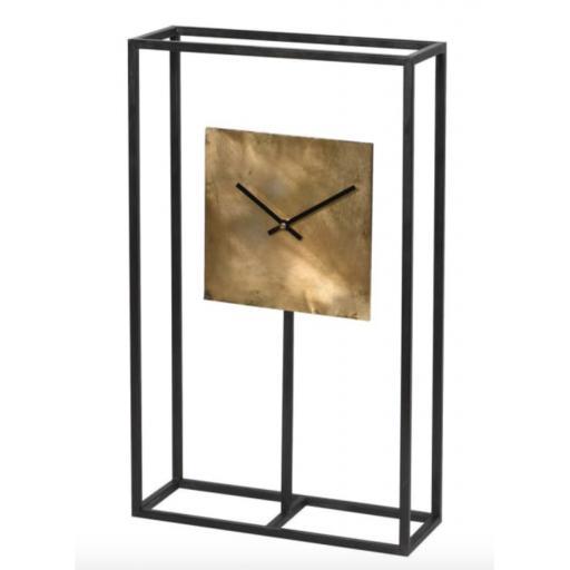 Black Frame Square Gold Clock