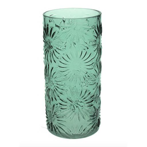 Green Glass Daisy Design Cylinder Vase Small
