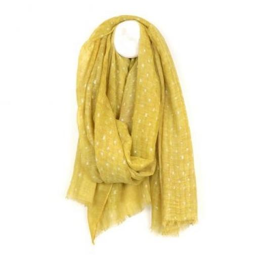 Peace Of Mind Yellow Scarf With Metallic Dash Pattern