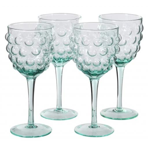 Green Glass Bubble Design Wine Glass