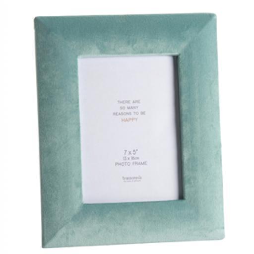 Faux Velvet Turquoise Photo Frame 7 x 5