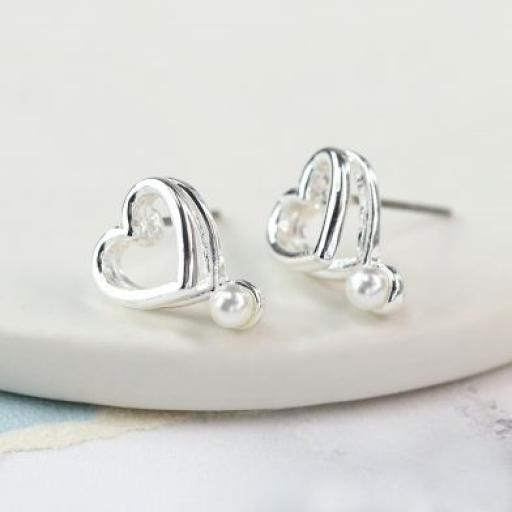 Peace Of Mind Silver Plated Double Heart & Pearl Earrings