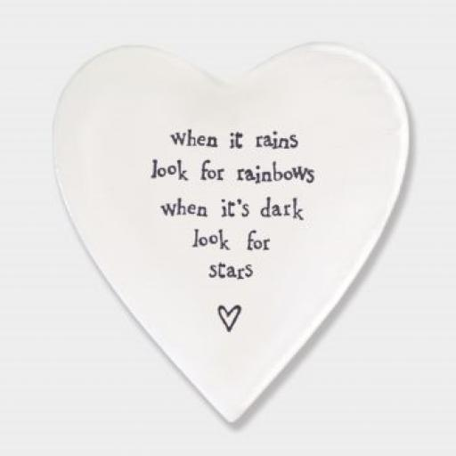 East Of India Look For Rainbows Porcelain Heart Coaster