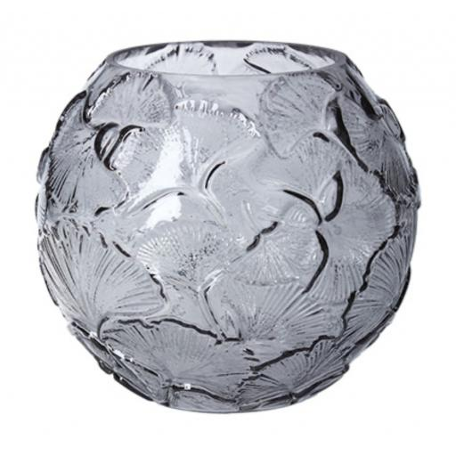 Grey Glass Ginkgo Design Globe Vase