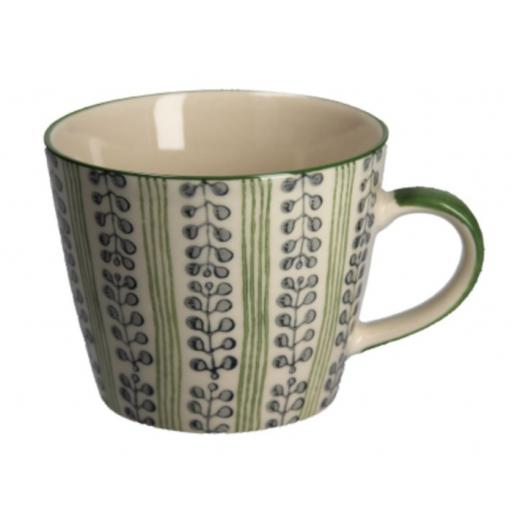 Green Stripes & Berries Mug by Gisela Graham