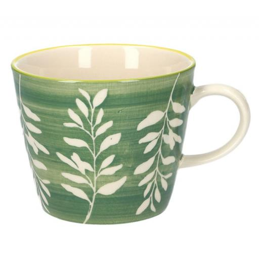 Green Leaves Design Mug by Gisela Graham
