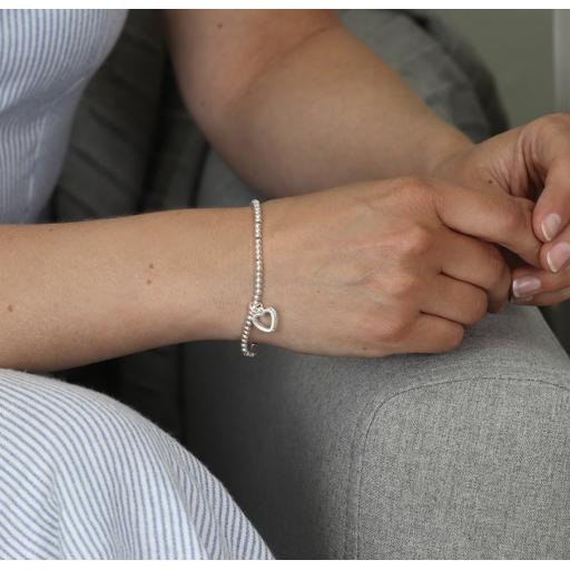 Peace of Mind Silver Plated Crystal Edged Heart Bracelet