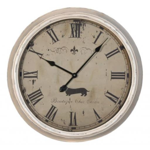 Vintage Large Metal Dachshund Design Wall Clock