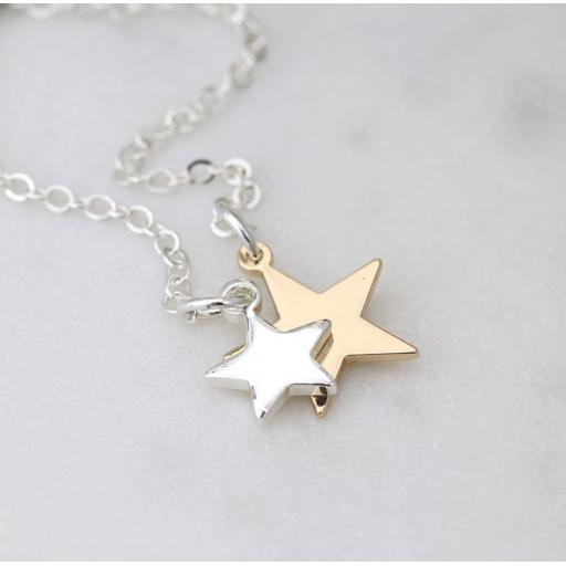Peace Of Mind. Silver & Gold Plated Double Star Lariat Necklace
