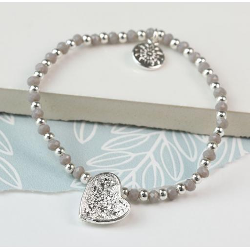 Peace of Mind Silver Plated Crinkle Heart & Grey Bead Bracelet