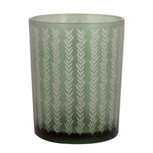 Etched Chevron Green Glass Tea Light Holder