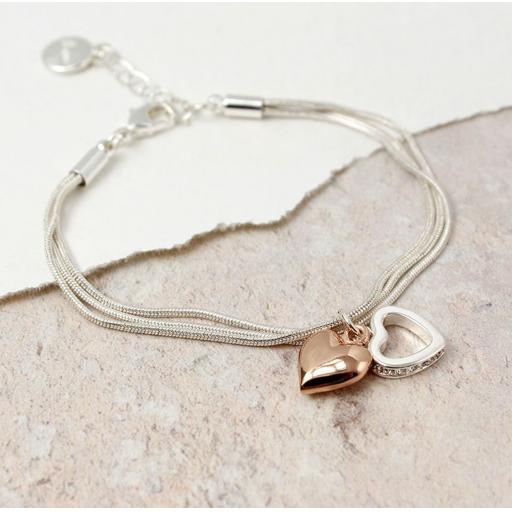 Peace of Mind Silver Plated Rose Gold And Crystal Hearts Triple Layer Bracelet