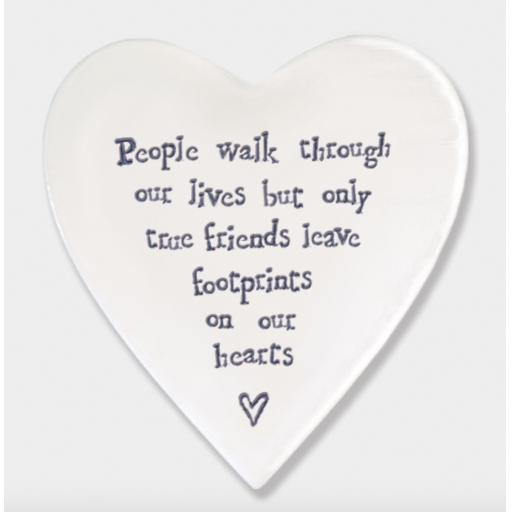 East Of India People Walk Through Our Lives Porcelain Heart Coaster