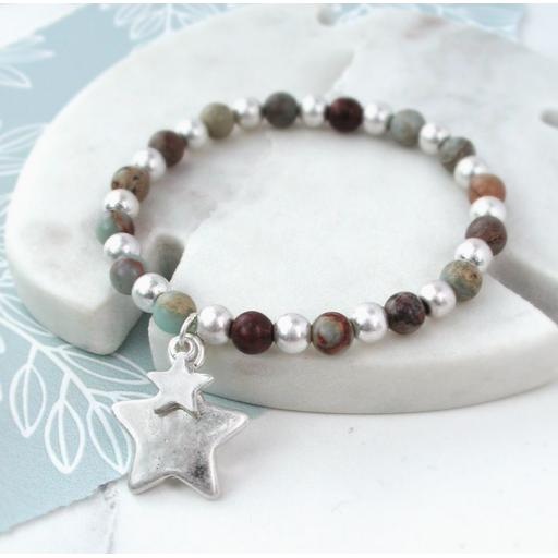 Peace of Mind Silver Plated Double Star Beaded Bracelet