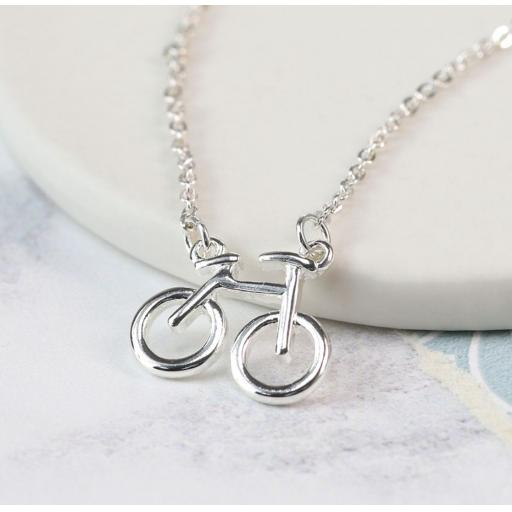 Peace Of Mind. Silver Plated Bicycle Necklace