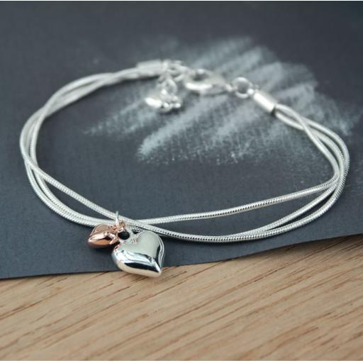 Peace of Mind Silver Plated Triple Chain Bracelet with Hearts