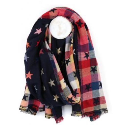 Peace Of Mind Navy Blue Reversible Jacquard Star Scarf