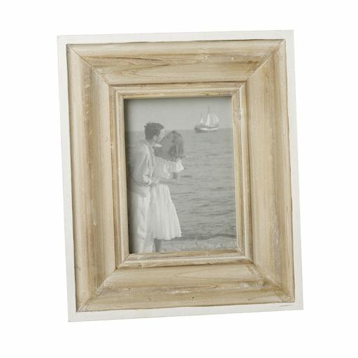White Washed Wooden Photo Frame