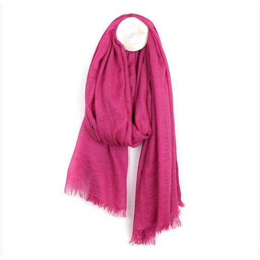 Peace Of Mind Vibrant Pink Lightweight Scarf