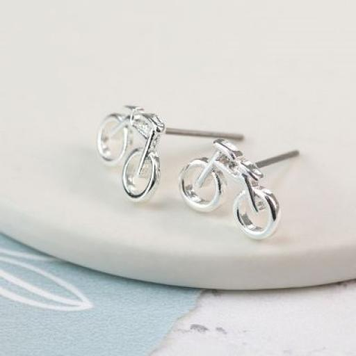 Peace Of Mind Silver Plated Bicycle Earrings