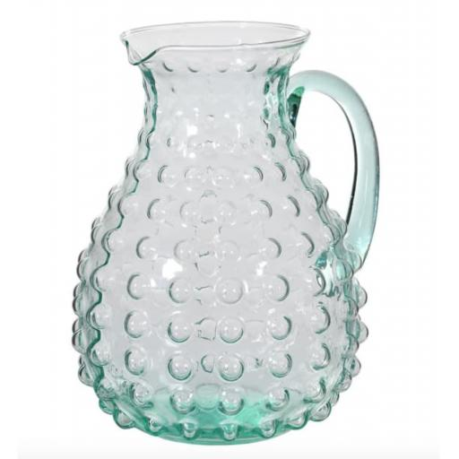 Green Glass Bubble Design Jug