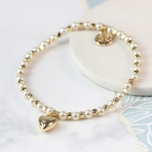 Peace of Mind Gold Bead & Pearl Bracelet With Gold Plated Heart