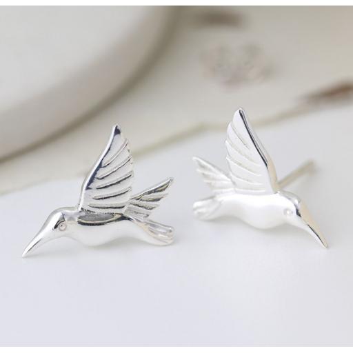 Peace Of Mind Sterling Silver Birds In Flight Earrings