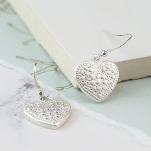 Peace Of Mind Silver Plated Dotty Heart Drop Earrings