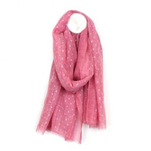 Peace Of Mind Pink Scarf With Metallic Dash Pattern