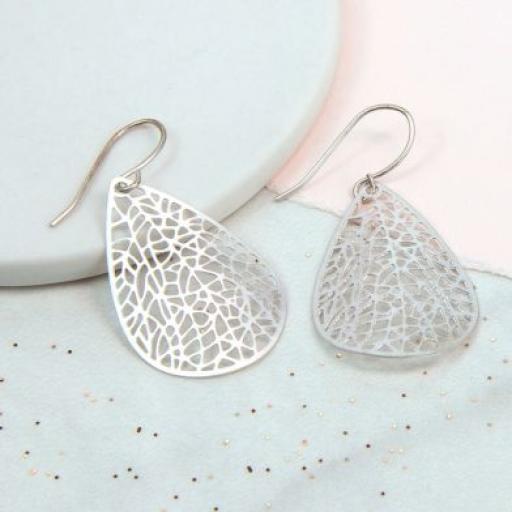 Peace Of Mind Silver Plated Laser Cut Teardrop Earrings