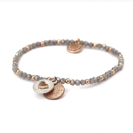 Peace of Mind Rose Gold Scratch Disc Heart Disc Grey Bead Bracelet
