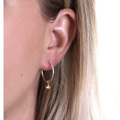 Peace Of Mind Sterling Silver Hoop Earrings With Gold Stars