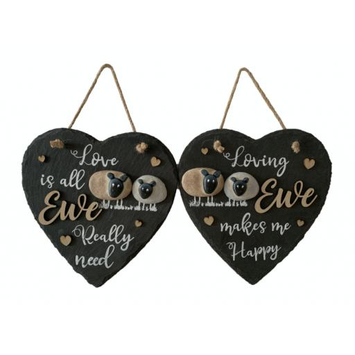 Slate Love Ewe Hanging Heart