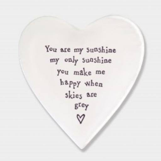 East Of India You Are My Sunshine Porcelain Heart Coaster