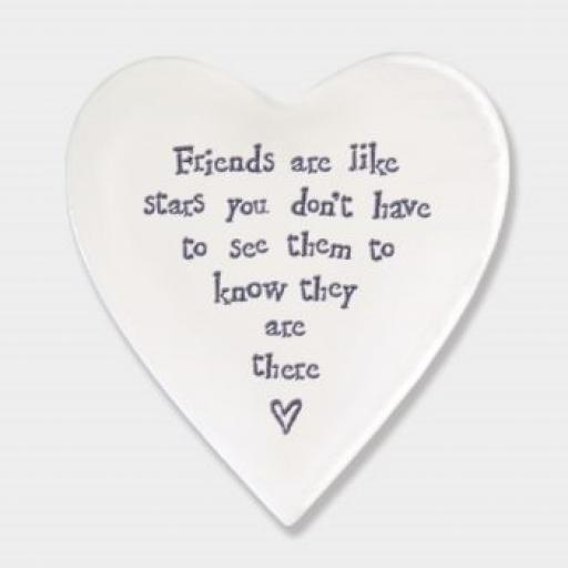East Of India Friends Are Like Stars Porcelain Heart Coaster