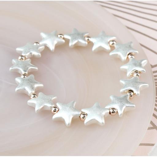 Peace of Mind Silver Plated Silver Matt Star & Rose Gold Bead Bracelet