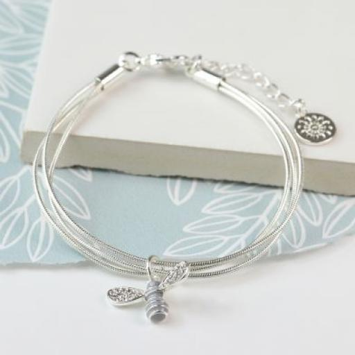 Peace of Mind Silver Plated Bracelet With Enamel Crystal Bee