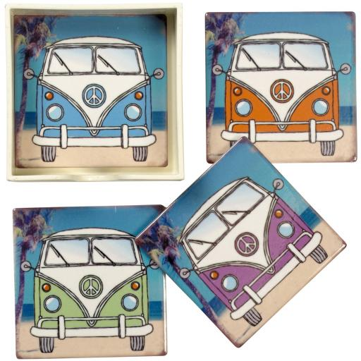 Set/4 Camper Van Coasters