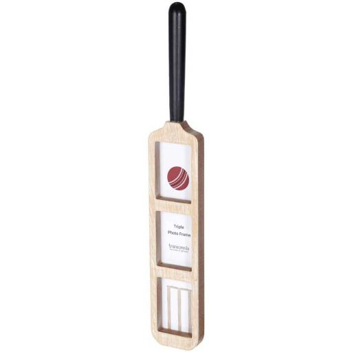 Cricket Bat Shape Triple Wooden Photo Frame