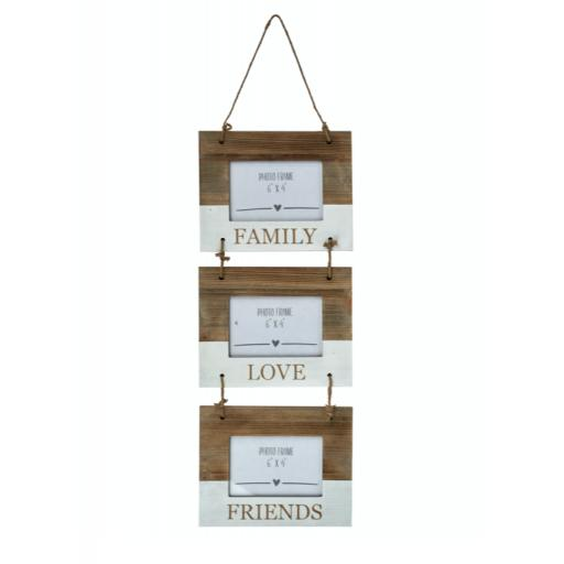 Family Friends Love Triple Hanging Photo Frame