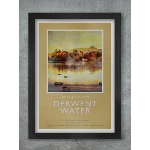 Framed A3 Size Retro Print Of Derwentwater